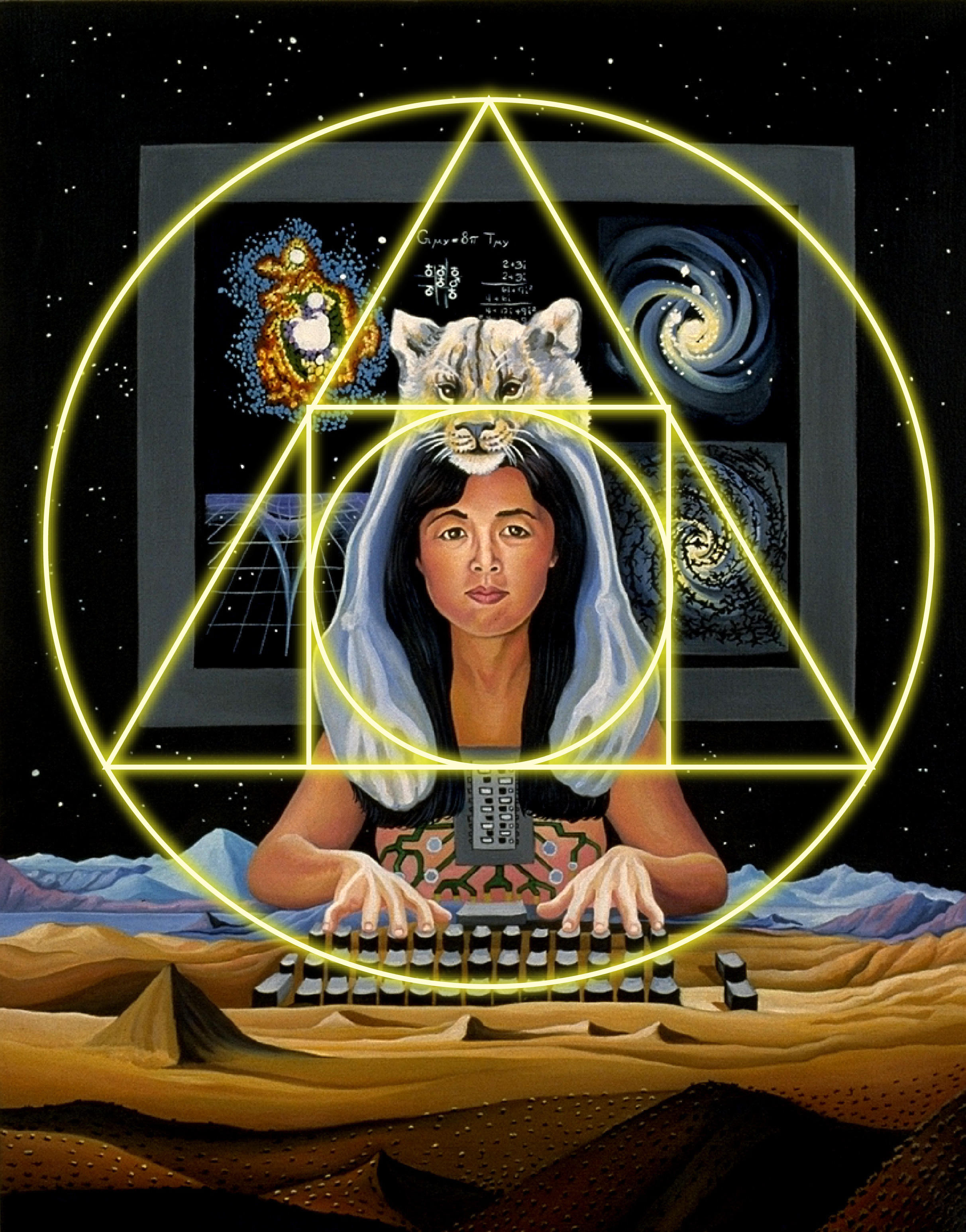 the cyborg alchemist philosophies i placed my human computer artist alchemist writer shamans scientist in the center and on the horizon line of a new canvas i put the dipswitches of the